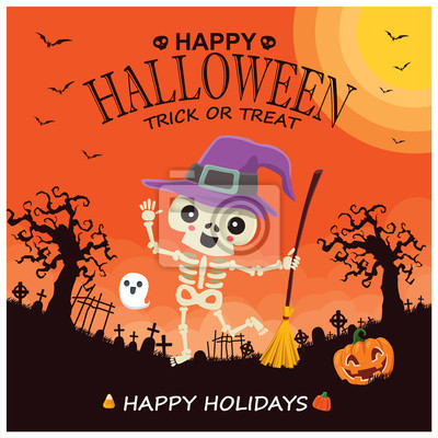 Vintage Halloween poster design with vector witch, pumpkin, ghost character.