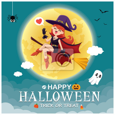 Vintage Halloween poster design with vector witch, pumpkin, ghost, spider character.