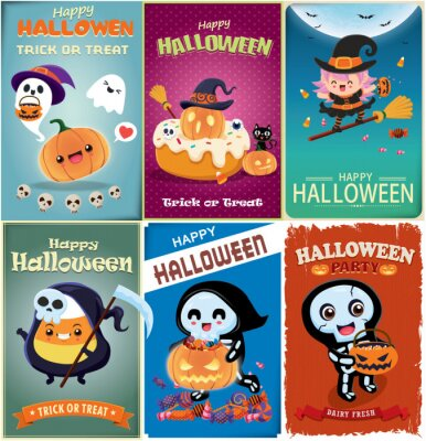 Vintage Halloween poster design with vector witch, reaper, skeleton, bat, cat, character.