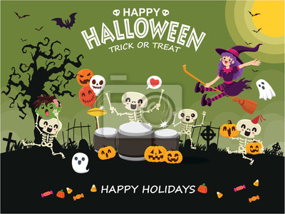 Vintage Halloween poster design with vector witch, skeleton, ghost, pumpkin character.