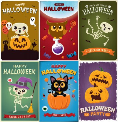Vintage Halloween poster design with vector witch, skeleton, ghost, vampire, owl, pumpkin, character.