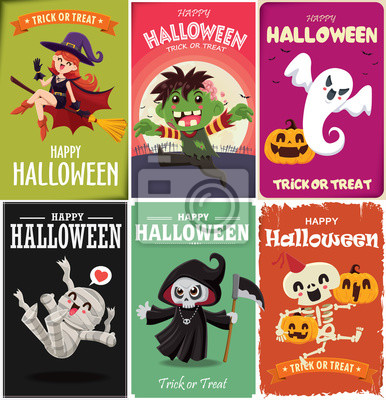 Vintage Halloween poster design with vector witch, zombie, mummy, reaper, skeleton, ghost, pumpkin, character.