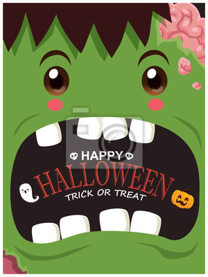 Vintage Halloween poster design with vector zombie, ghost, pumpkin character.