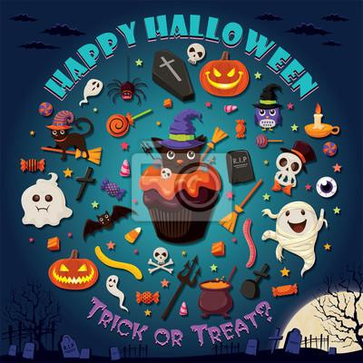 Vintage Halloween projekt plakatu ustawiony z cupcake