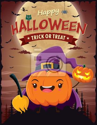 Vintage Halloween projekt plakatu z charakterem wektorowych czarownicy.