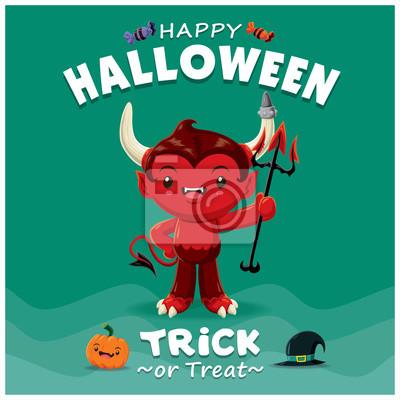Vintage Halloween projekt plakatu z charakterem wektorowych diabła.