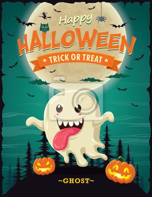 Vintage Halloween projekt plakatu z charakterem wektorowych duchów.