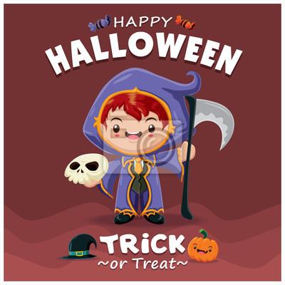 Vintage Halloween projekt plakatu z charakterem wektorowych reaper.