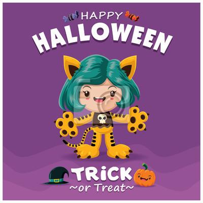 Vintage Halloween projekt plakatu z charakterem wektorowych tygrysa.