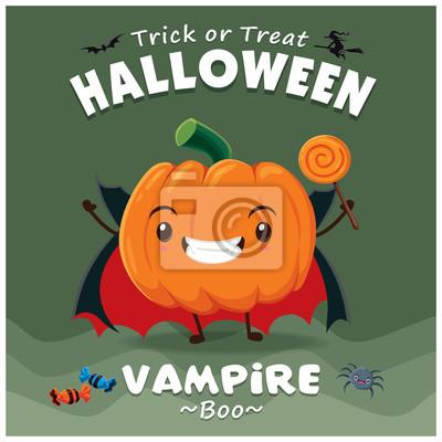 Vintage Halloween projekt plakatu z charakterem wektorowych wampira.