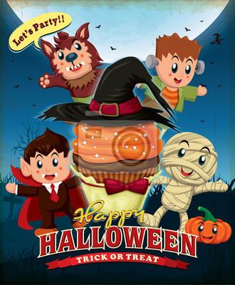 Vintage Halloween projekt plakatu z cupcake i dzieci w kostium