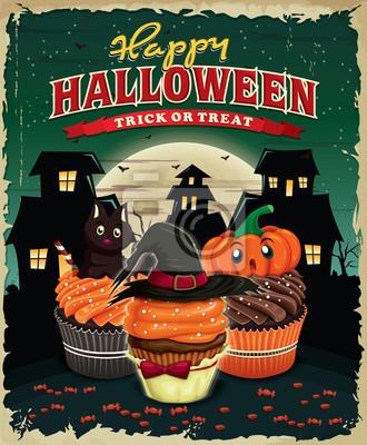 Vintage Halloween projekt plakatu z cupcakes