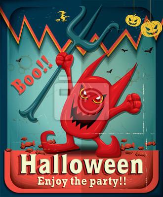 Vintage Halloween projekt plakatu z demonem