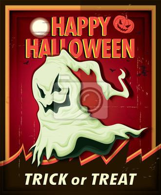 Vintage Halloween projekt plakatu z duchem