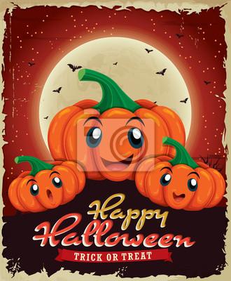 Vintage Halloween projekt plakatu z dyni