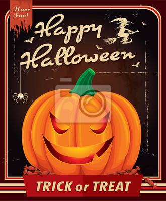 Vintage Halloween projekt plakatu z dyni głowy