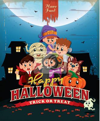 Vintage Halloween projekt plakatu z dzieci w kostium