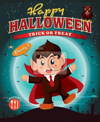 Vintage Halloween projekt plakatu z dzieci w kostium wampira
