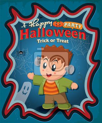 Vintage Halloween projekt plakatu z dzieckiem