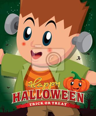 Vintage Halloween projekt plakatu z dzieckiem w kostium