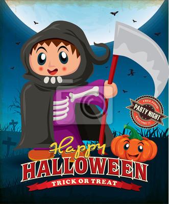 Vintage Halloween projekt plakatu z dzieckiem w kostium reaper