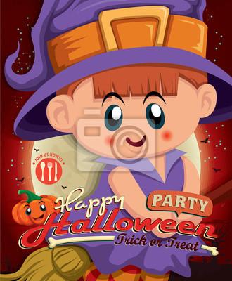Vintage Halloween projekt plakatu z dzieckiem w stroju czarownicy