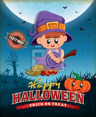 Vintage Halloween projekt plakatu z dziećmi w stroju czarownicy