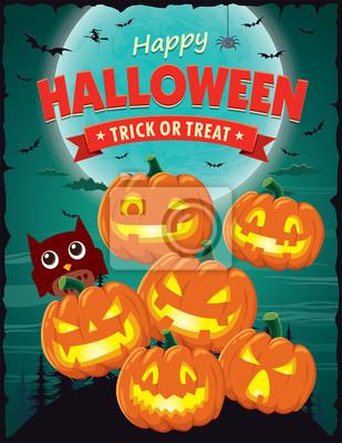 Vintage Halloween projekt plakatu z gniazdem latarnia o charakterze wektorowych.