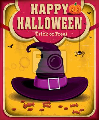 Vintage Halloween projekt plakatu z kapelusza czarownicy