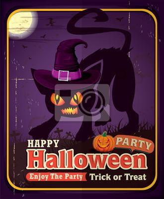 Vintage Halloween projekt plakatu z kotem