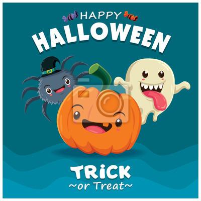 Vintage Halloween projekt plakatu z wektora duch, pająk, charakter dyni.