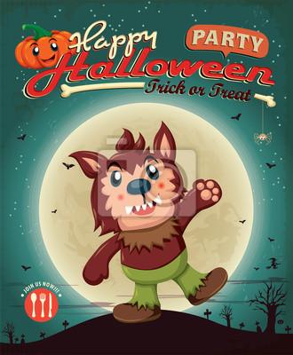 Vintage Halloween projekt plakatu z Wolfman