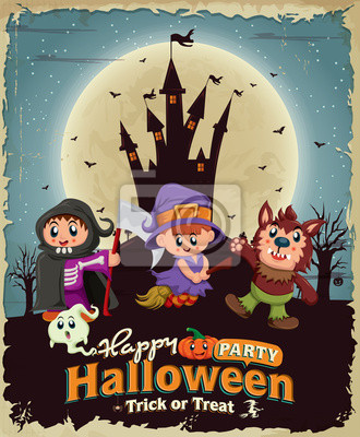 Vintage Halloween projekt plakatu z zamku, dzieci w strojach