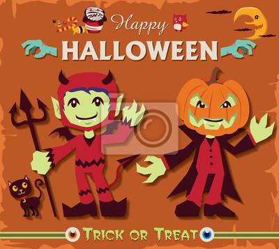 Plakat Vintage Halloween projekt plakatu zestaw z charakterem demon