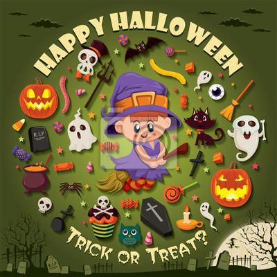 Vintage Halloween projekt plakatu zestaw z czarownicą