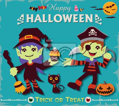Vintage Halloween projekt plakatu zestaw z czarownica i charakterze pirackim