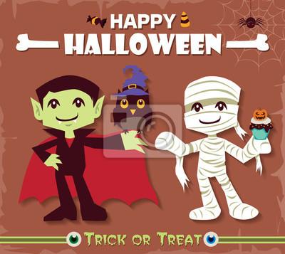 Vintage Halloween projekt plakatu zestaw z mumii i charakter wampira