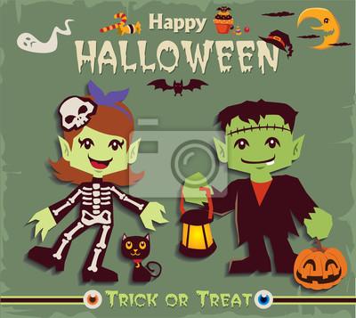 Plakat Vintage Halloween projekt plakatu zestaw z szkielet postać dziewczyny