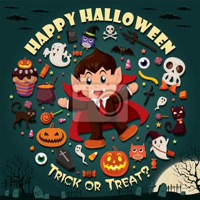 Vintage Halloween projekt plakatu zestaw z wampirem