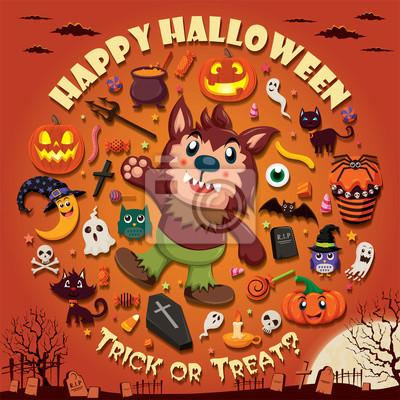 Plakat Vintage Halloween projekt plakatu zestaw z Wilkołak