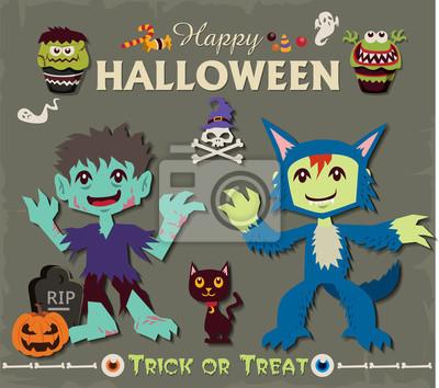 Plakat Vintage Halloween projekt plakatu zestaw z zombie i Wilkołak charakterem