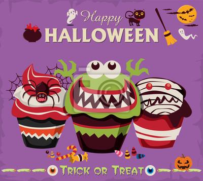 Vintage Halloween projekt plakatu zestaw znaków z cupcake