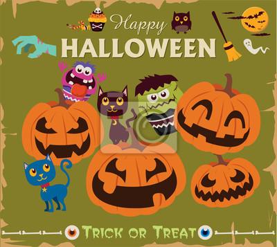 Vintage Halloween projekt plakatu zestaw znaków z kotów, sowa, dynia