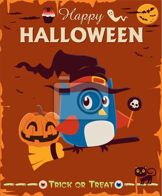 Vintage Halloween projekt plakatu zestaw znaków z sowa
