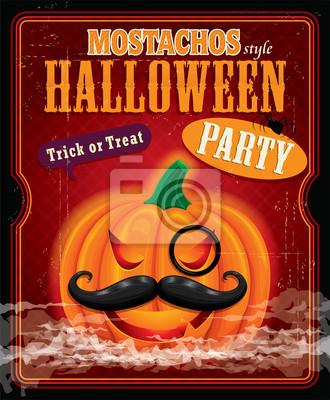 Vintage halloween styl mostachos projekt plakatu