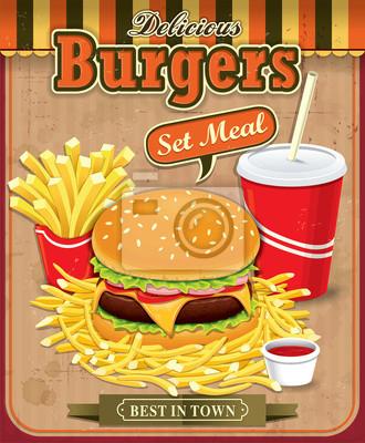 Vintage hamburgery z frytkami i napój zestaw projektowania plakatu