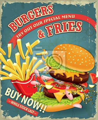 Vintage hamburgery z frytkami ustawić projekt plakatu