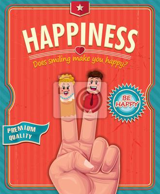 Vintage happiness finger poster design