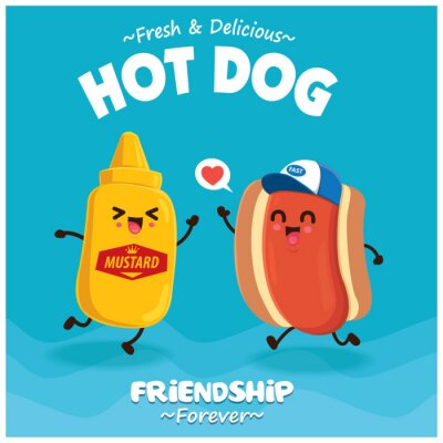 Vintage Hot dog poster design with vector hot dog & mustard character.