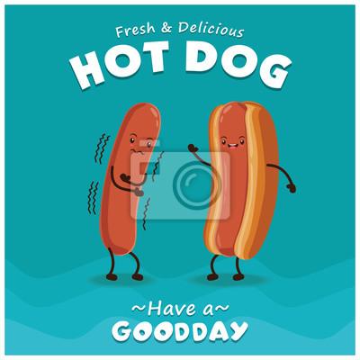 Vintage Hot pies projekt plakatu z charakterem wektorowych hot dog.